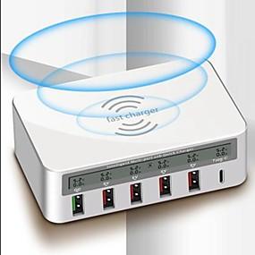 baratos Carregadores USB-carregador rápido sem fio e carregador usb 818f 6 estação de carregador de mesa display lcd / com identificação inteligente / com carregamento rápido 3.0 / com tipo c plug-nos / plug da ue / adaptador