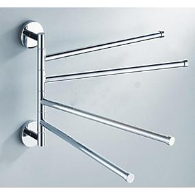 povoljno Gadgeti za kupaonicu-okretni ručnik za ručnike od nehrđajućeg čelika kupatilo s 4 kraka ljuljačka vješalica držač za ručnike ormar za pohranu prostora ušteda prostora zidni nosač četkani završni sloj