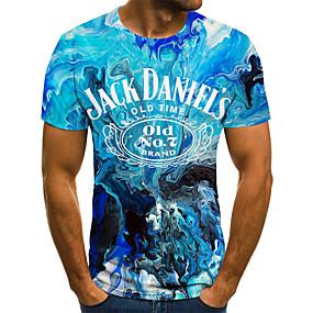 povoljno Muške majice-Majica s rukavima Muškarci - Ulični šik / Punk & Gotika Izlasci / Klub Color block / 3D / Slovo Print Plava