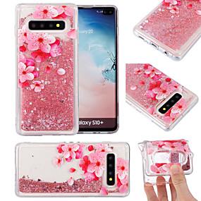 olcso Galaxy S6 Edge Plus tokok-Case Kompatibilitás Samsung Galaxy S9 / S9 Plus / S8 Plus Folyékony / Minta / Csillogó Fekete tok Virág TPU