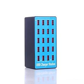 olcso USB Töltők-100w 20a usb töltő a5 20 asztali töltőállomás intelligens azonosítással us plug / eu plug / uk plug adapter