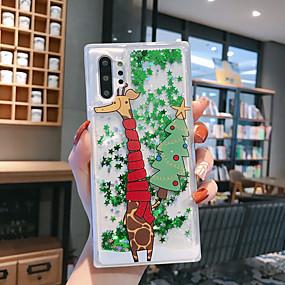 Недорогие Чехлы и кейсы для Galaxy Note 8-Кейс для Назначение SSamsung Galaxy Note 9 / Note 8 / Samsung Note 10 Движущаяся жидкость / С узором / Сияние и блеск Кейс на заднюю панель дерево / Рождество ТПУ