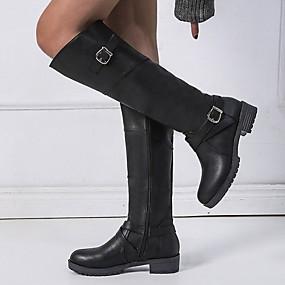 cheap Women's Shoes-Women's Boots Knee High Boots Flat Heel Round Toe PU Knee High Boots Winter Black / Dark Brown / Green