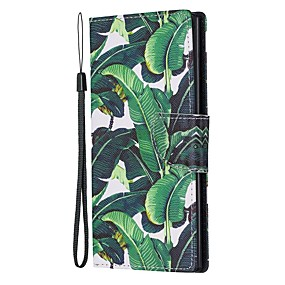 Недорогие Чехлы и кейсы для Galaxy Note 8-Кейс для Назначение SSamsung Galaxy Note 9 / Note 8 / Galaxy Note 10 Кошелек / Бумажник для карт / со стендом Чехол Цветы Кожа PU