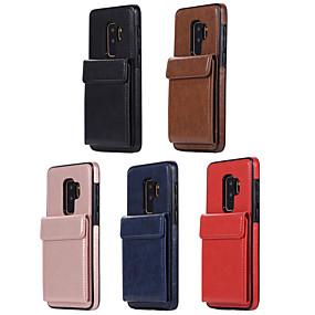 voordelige Galaxy S7 Edge Hoesjes / covers-hoesje Voor Samsung Galaxy S9 / S9 Plus / S8 Kaarthouder Achterkant Effen PU-nahka / TPU