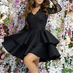 cheap New Arrivals-Women's 2020 Cocktail Party Going out Birthday Mini A Line Dress - Solid Colored Lace Layered Deep V Spring & Summer Black M L XL XXL