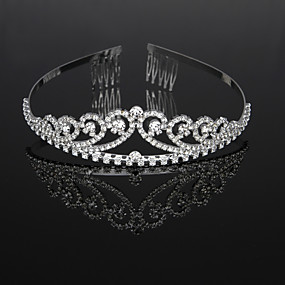 cheap Women's Accessories-Cubic Zirconia / Rhinestone / Alloy Tiaras / Headbands / Headdress with Rhinestone / Crystal / Crystals / Rhinestones 1 Piece Wedding / Birthday Headpiece