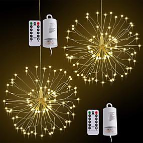 """זול חוט נורות לד-ZDM® 0.2 מ ' חוטי תאורה 120 נוריות SMD 0603 2.3 מ""""מ 2pcs לבן חם צבעוני חג מולד לשנה החדשה עמיד במים Party דקורטיבי סוללות AA"""