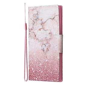 Недорогие Чехлы и кейсы для Galaxy Note 8-Кейс для Назначение SSamsung Galaxy Note 9 / Note 8 / Galaxy Note 10 Кошелек / Бумажник для карт / со стендом Чехол Мрамор Кожа PU