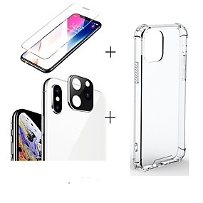 voordelige iPhone 11 Screenprotectors-3 in 1 / set voor iPhone 11 / 11pro / 11 pro max screen protector transparante behuizing siliconen cameralens glasfilm