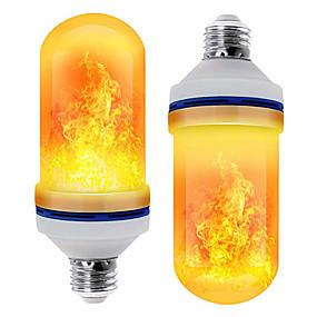 ieftine Becuri LED Glob-3buc 2buc efect de flacără cu bec decorativ condus lumină dinamică cu flacără e27 bec de porumb creativ efect de simulare a flăcării lumină de noapte