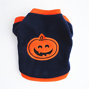 preiswerte Haustierzubehör-Hunde Halloween Kostüme Pullover Kürbis Cosplay Halloween Hundekleidung Orange Kostüm Polar-Fleece XS S M L