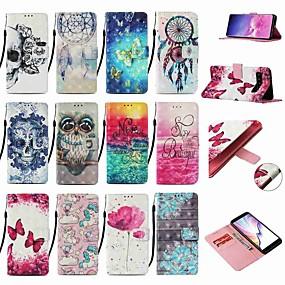 Недорогие Чехлы и кейсы для Galaxy Note 8-Кейс для Назначение SSamsung Galaxy Note 9 / Note 8 / Galaxy Note 10 Кошелек / Бумажник для карт / со стендом Чехол Бабочка Кожа PU / ТПУ