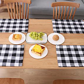 olcso Tányéralátét-karácsonyi lakberendezési konyhai kiegészítők kockás terítő asztali kés villát lemez kockás terítő