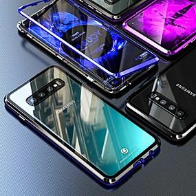 رخيصةأون Galaxy S8 Plus أغطية / كفرات-حالة مغناطيسية لسامسونج غالاكسي ملاحظة 10 زائد / s10 زائد / a9 (2018) كوكه 360 ضعف الجانب الزجاج المقسى المعادن fundas غطاء الهاتف الحالات المغناطيس لسامسونج s9 زائد / s8 زائد / a50 / a10 / s10 5g