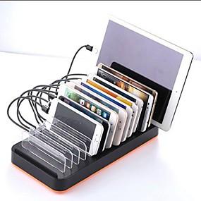 olcso USB Töltők-50w 10a usb töltő 815 15 asztali töltőállomás intelligens azonosítóval / állvány dokkolóval us plug / eu plug / uk plug töltő adapter