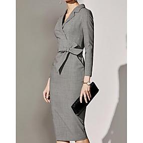 povoljno Novo u ponudi-Žene Sive boje Haljina Osnovni Dnevni Nosite A kroj Jednobojni Kragna košulje S M