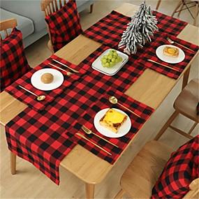 olcso Tányéralátét-kétoldalas, vízálló bivaly kockás zsákvászon alátétek étkezőasztalra, karácsonyra