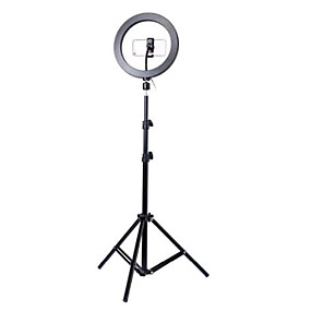 cheap New Arrivals-Photography led self timer ring light 26cm metal dimmable photography / mobile phone ring light with 110 / 160cm tripod for makeup video studio
