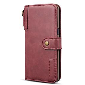 Недорогие Чехлы и кейсы для Galaxy Note 8-Кейс для Назначение SSamsung Galaxy Note 9 / Note 8 / Galaxy A30 (2019) Кошелек / Бумажник для карт / Защита от удара Чехол Однотонный Настоящая кожа