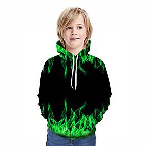 cheap New Year 2020-Kids Boys' Active Street chic Geometric 3D Patchwork Print Long Sleeve Hoodie & Sweatshirt Green
