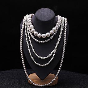 olcso Többsoros nyaklánc-Női Rakott nyakláncok Pearl Pászmák hosszú nyaklánc Hosszú hölgyek Ázsiai Menyasszonyi Többrétegű Gyöngy Fekete Világos szürke Fehér Piros Nyakláncok Ékszerek 1db Kompatibilitás Esküvő Parti