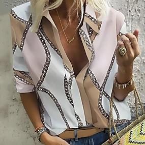 povoljno WOMEN SALE-Bluza Žene Dnevno / Kauzalni Geometrijski oblici / Lanac Ispis Kragna košulje purpurna boja / V izrez