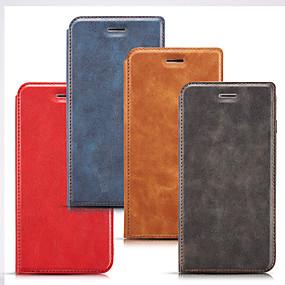 voordelige Galaxy S7 Edge Hoesjes / covers-hoesje Voor Samsung Galaxy S9 / S9 Plus / S8 Plus Kaarthouder / Schokbestendig Volledig hoesje Effen PU-nahka