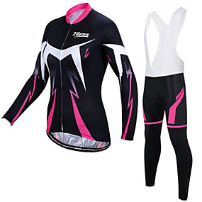cheap Cycling Clothing-21Grams Women's Long Sleeve Cycling Jersey with Tights Winter Pink / Black Skull Bike Clothing Suit Breathable Quick Dry Ultraviolet Resistant Sports Skull Mountain Bike MTB Road Bike Cycling