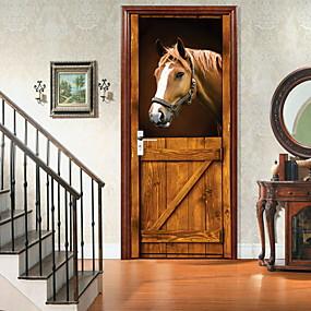 رخيصةأون ملصقات ديكور-amazingwall مستقرة 3d الحصان الباب ديكور diy الرئيسية الديكور خزانة ملصق الباب جدار جدارية ديكا