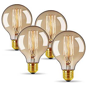 Χαμηλού Κόστους Λαμπτήρες πυράκτωσης-4pcs 40 W E26 / E27 G80 Θερμό Λευκό 2300 k Ρετρό / Με ροοστάτη / Διακοσμητικό Λαμπτήρας πυρακτώσεως Vintage Edison 220-240 V