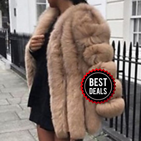 cheap Women's Furs & Leathers-Women's Daily Fall & Winter Long Faux Fur Coat, Solid Colored V Neck Long Sleeve Faux Fur Black / White / Blushing Pink