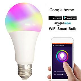 olcso LED gömbbúrás izzók-1db 12 W LED gömbbúrás izzók Okos LED izzók 700 lm B22 E26 / E27 30 LED gyöngyök APP vezérlés Smart Időzítés Multi-szín 85-265 V
