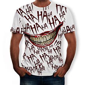 voordelige Nieuw Binnengekomen-Heren Street chic / overdreven Print Grote maten - T-shirt Effen Ronde hals Rood / Korte mouw