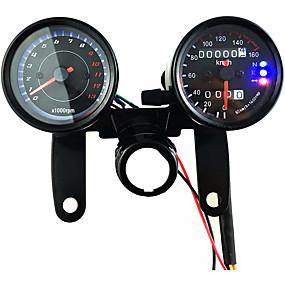 Недорогие Запчасти для мотоциклов и квадроциклов-12v мотоцикл скутер черный светодиодный одометр спидометр и 13000 об / мин тахометр с кронштейном