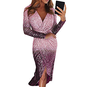 cheap Party Dresses-Women's Cocktail Party New Year Going out Sexy Elegant Asymmetrical Bodycon Sheath Dress - Color Gradient Color Block Sequins Asymmetric Deep V Black Purple Blushing Pink S M L XL