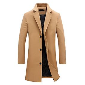 cheap Top Sellers-Men's Notch lapel collar Jacket Long Solid Colored Daily Basic Vintage Plus Size Fall Winter Fantastic Beasts Long Sleeve Cotton Black / Blue / Khaki M / L / XL