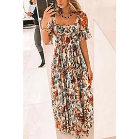 cheap New Arrivals-Women's Elegant Swing Dress - Floral Beige S M L XL