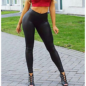 cheap Women's Pants-Women's Streetwear Daily Holiday Going out Slim Slim Pants Solid Colored Black S M L
