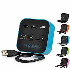 olcso Számítógépes periferiális egységek-3 portos usb hub kártyaolvasó multi usb splitter combo támogatás micro tf sd m2 ms sdhc mmc kártya usb hub 2.0 PC laptophoz