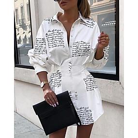 povoljno WOMEN SALE-Žene Mini Obala Haljina Elegantno A kroj Slovo Kragna košulje S M