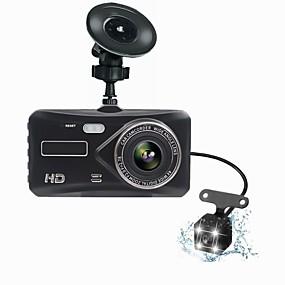 voordelige Auto DVR's-t672 dual lens mini dash cam fhd 1080p 4 ips scherm dvr achteraanzicht twee camera dvrs dashboard auto video opname nacht versie