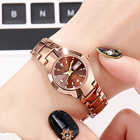 cheap Quartz Watches-Women's Quartz Watches New Arrival Elegant Black Silver Rose Gold Stainless Steel Japanese Quartz Black Rose Gold Silver Calendar / date / day Chronograph New Design 1 pc Analog Two Years Battery Life