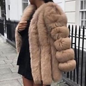 Недорогие Женская одежда из кожи и меха-Жен. Повседневные Наступила зима Длинная Искусственное меховое пальто, Однотонный V-образный вырез Длинный рукав Искусственный мех Черный / Белый / Розовый