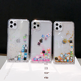 cheap iPhone 11-Case For Apple iPhone 11 / iPhone 11 Pro / iPhone 11 Pro Max Flowing Liquid Back Cover Glitter Shine TPU / PC