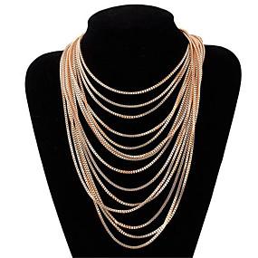 olcso Többsoros nyaklánc-Női Rövid nyakláncok Rakott nyakláncok hosszú nyaklánc Rojt Értékes Egyedi Divat Arannyal bevont Króm Arany 64 cm Nyakláncok Ékszerek 1db Kompatibilitás Utca Szabadság Fesztivál