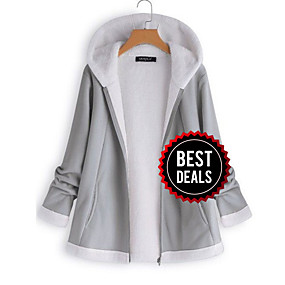 cheap Women's Coats & Trench Coats-Women's Daily Winter Regular Jacket, Solid Colored Hooded Long Sleeve Polyester Gray / Wine / Khaki