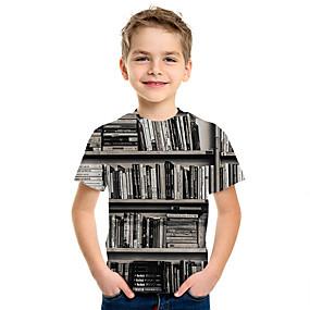 cheap New Year 2020-Kids Boys' Basic Print 3D Short Sleeve Tee Black