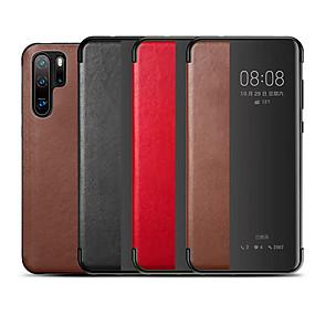 Недорогие Чехлы и кейсы для Huawei Mate-Кейс для Назначение Huawei Huawei P20 / Huawei P20 Pro / Huawei P30 Защита от удара Чехол Однотонный Настоящая кожа