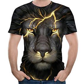 povoljno Muške majice-Majica s rukavima Muškarci - Ulični šik / pretjeran Dnevno / Praznik Color block / 3D / Grafika Print Crn